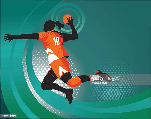 Handball Player Jumping to Shoot - Green Background