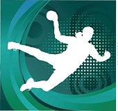 Handball Player Silhouette Shooting Goal - Green Background