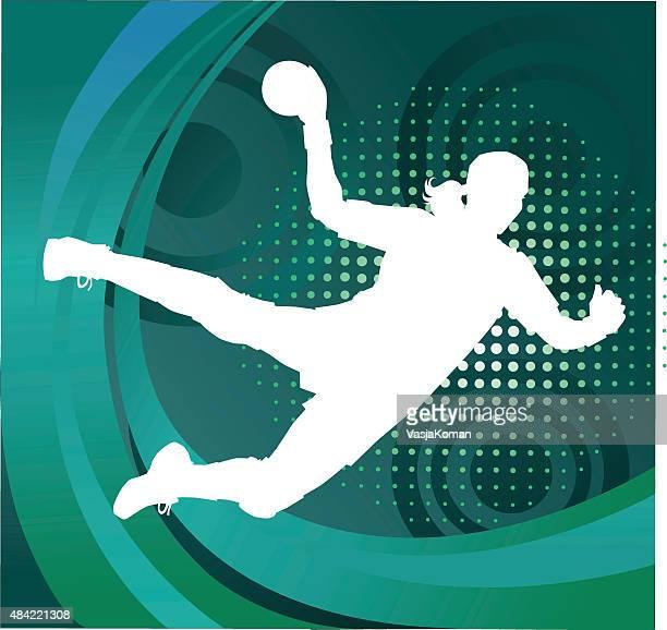 handball player silhouette shooting goal - green background - handball stock illustrations