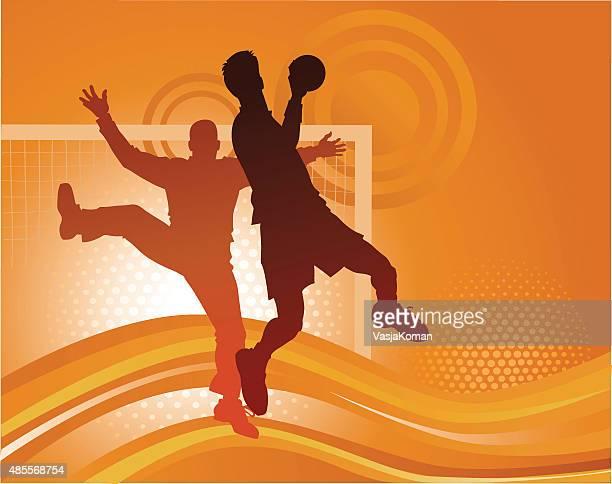 handball players - attacking goal - handball stock illustrations