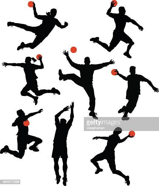 handball players silhouettes - handball stock illustrations