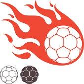 Handballs on fire digital illustration