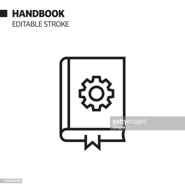 ハンドブックラインアイコン、アウトラインベクトルシンボルイラスト。ピクセルパーフェクト、編集可能なストローク。 - 説明書き点のイラスト素材/クリップアート素材/マンガ素材/アイコン素材