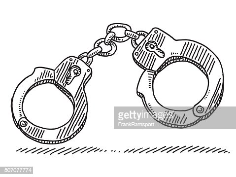 handcuffs symbol drawing vector art | getty images