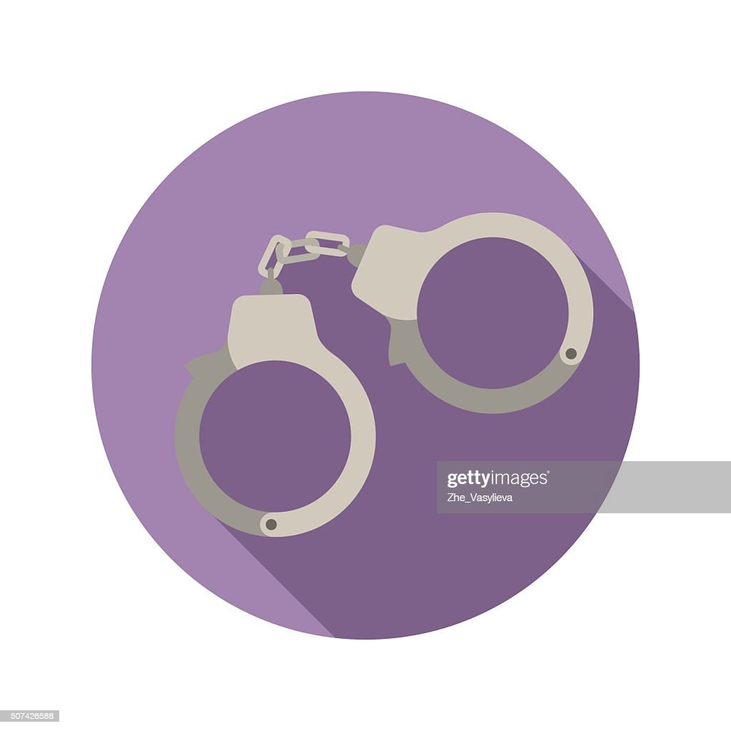 Handcuffs vector flat style icon on round badge
