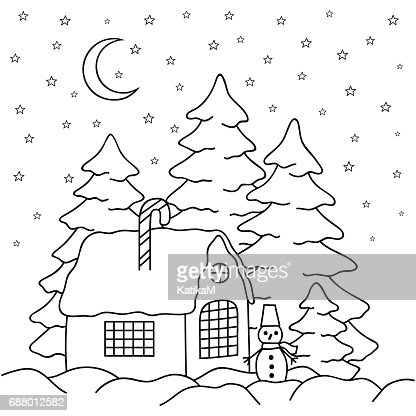 Handdraw Village House Behind The Fence Coloring Book Page For Adults And Children Winter Country Landscape Moon Stars Firtrees Snowman Vector Art