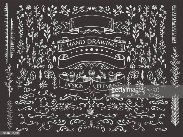 ilustrações, clipart, desenhos animados e ícones de elementos de desenho à mão design - florear