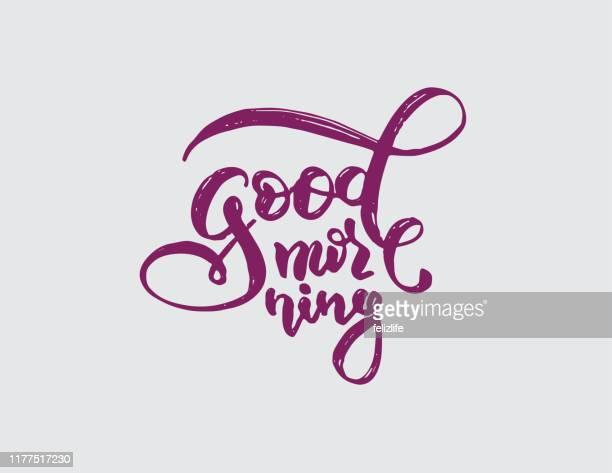 "ilustrações de stock, clip art, desenhos animados e ícones de hand-drawing lettering ""good morning"" - acordar"