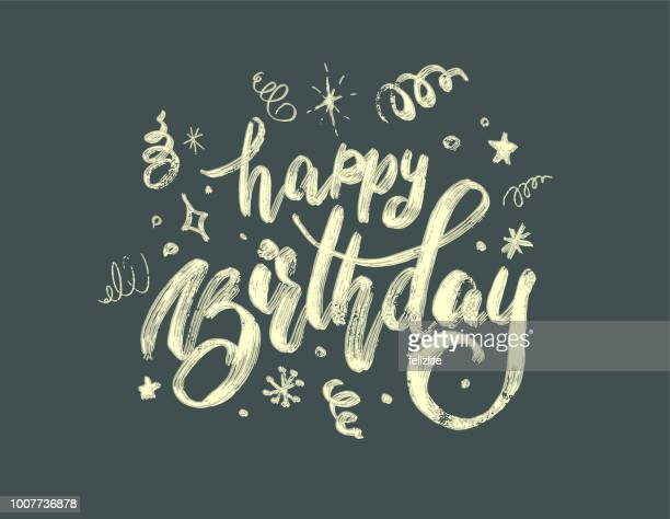 "hand-drawing modern lettering ""happy birthday"" on white background - happy birthday stock illustrations"