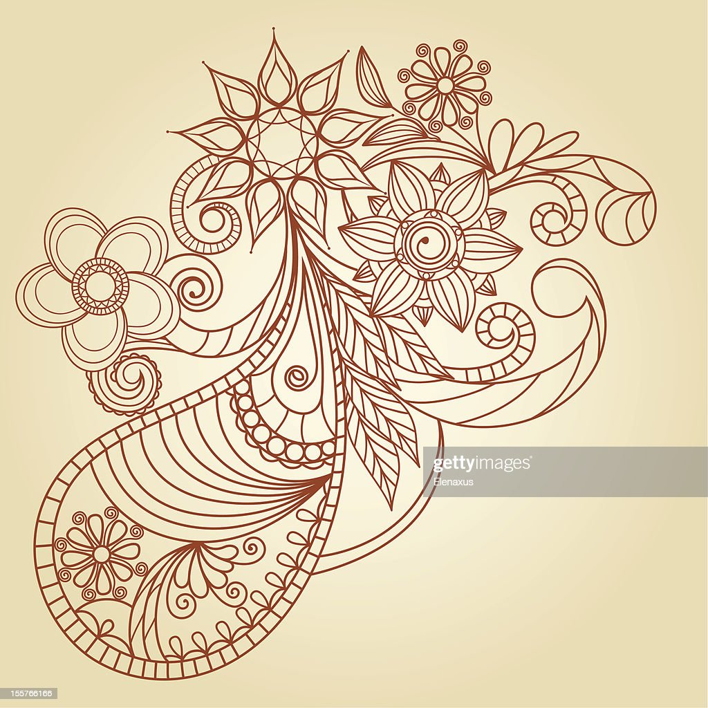 Handdrawn Abstract Henna Mehndi Design Elements Vector Art Getty