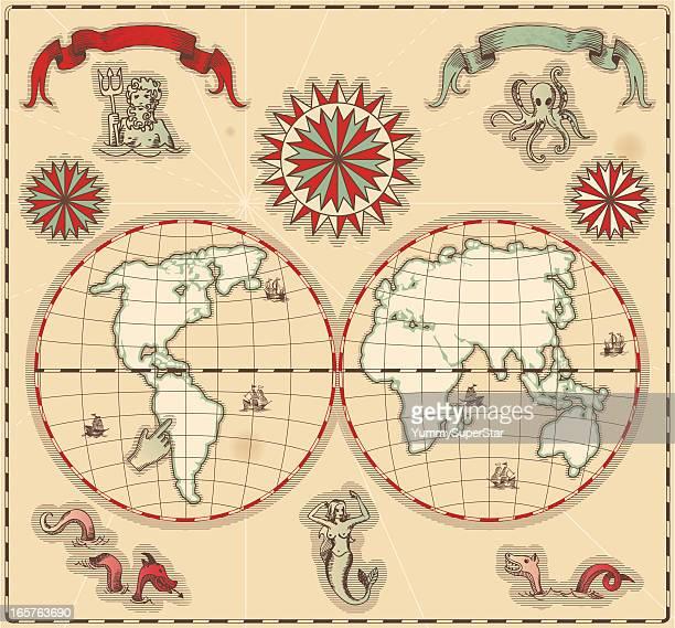 hand-drawn antique ocean map. - roman god stock illustrations