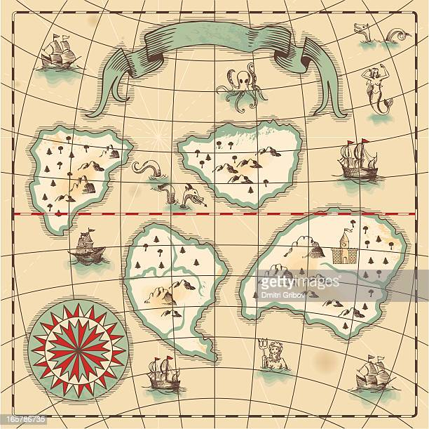 hand-drawn antique ocean map. - fantasy stock illustrations