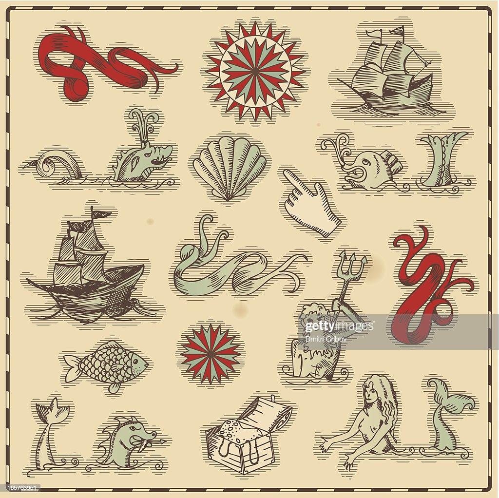Hand-drawn antique ocean navigation icons : Stock Illustration
