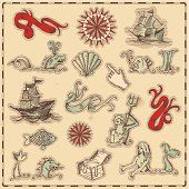 Hand-drawn antique ocean navigation icons