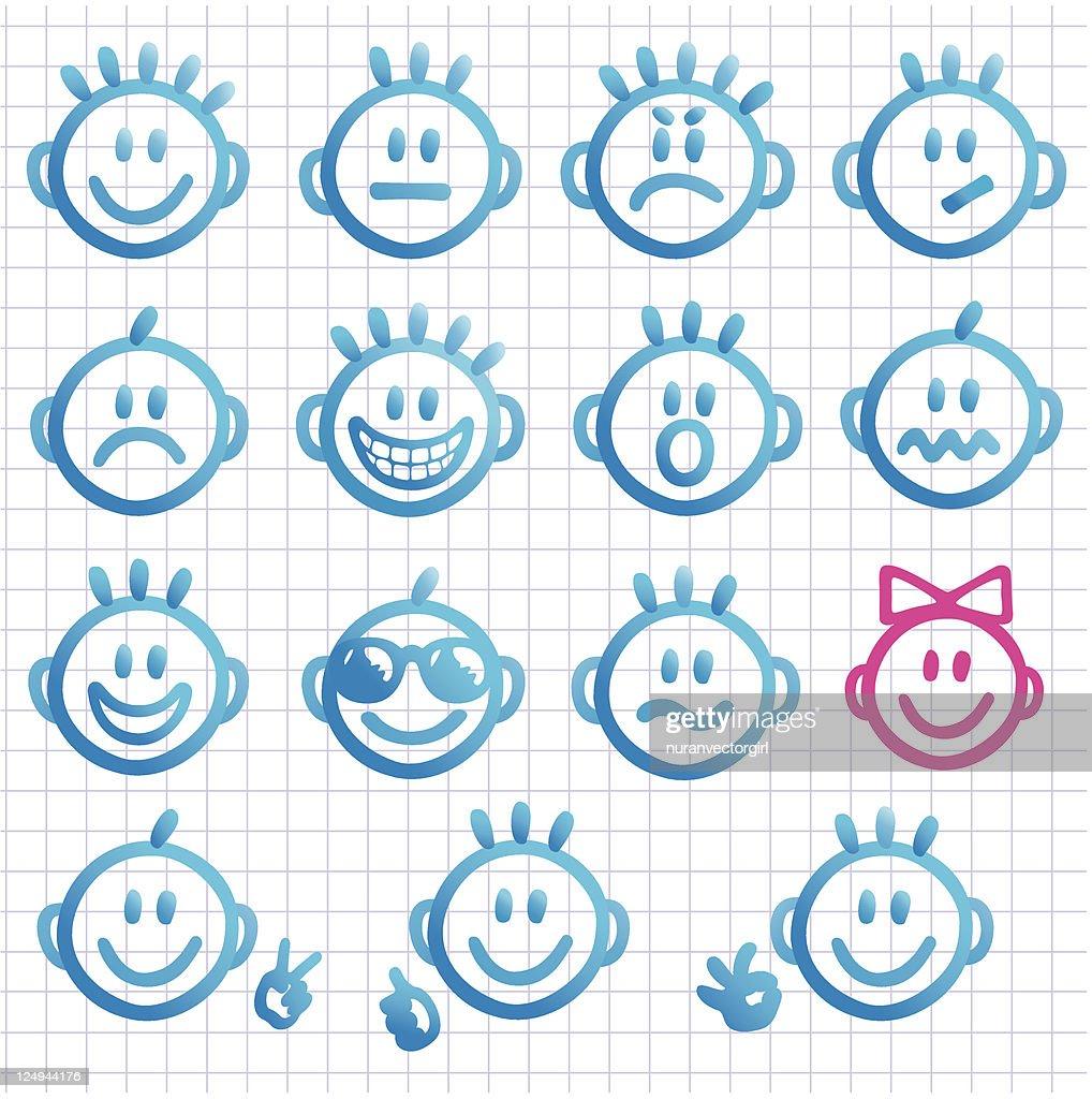 Hand-drawn blue faces with various expressions