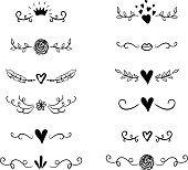 Handdrawn borders set with hearts, crown for Valentines Day and wedding greeting cards, posters. Vector icon.