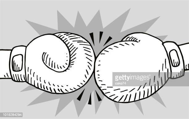 hand-drawn boxing gloves - boxing glove stock illustrations