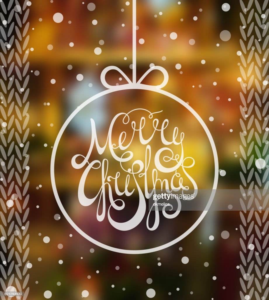 Handdrawn calligraphic inscription Merry Christmas