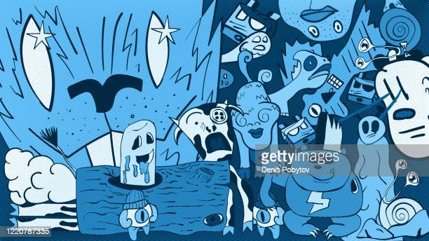 a hand-drawn cartoon abstract illustration of doodle characters in color. - arts culture et spectacles stock illustrations