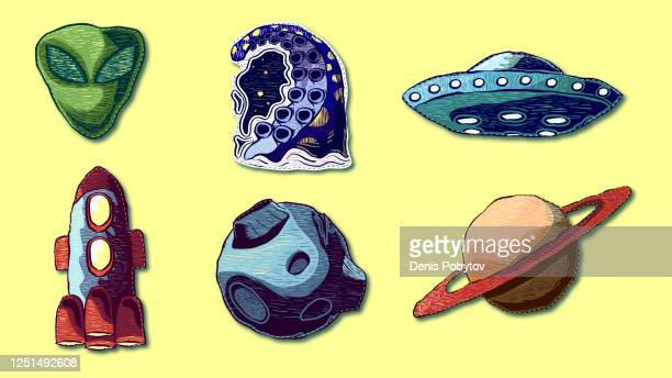 hand-drawn cartoon set of icons - patches. - embroidery stock illustrations