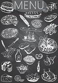 Hand-drawn chalkboard menu