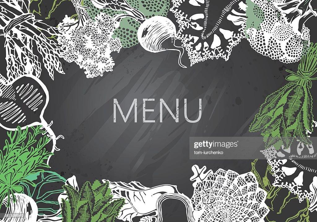 Hand-drawn chalkboard menu with Vegetables. Organic Food.