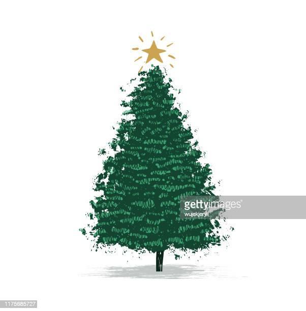 ilustrações de stock, clip art, desenhos animados e ícones de hand-drawn chrismas tree, christmas card - estrelas de natal