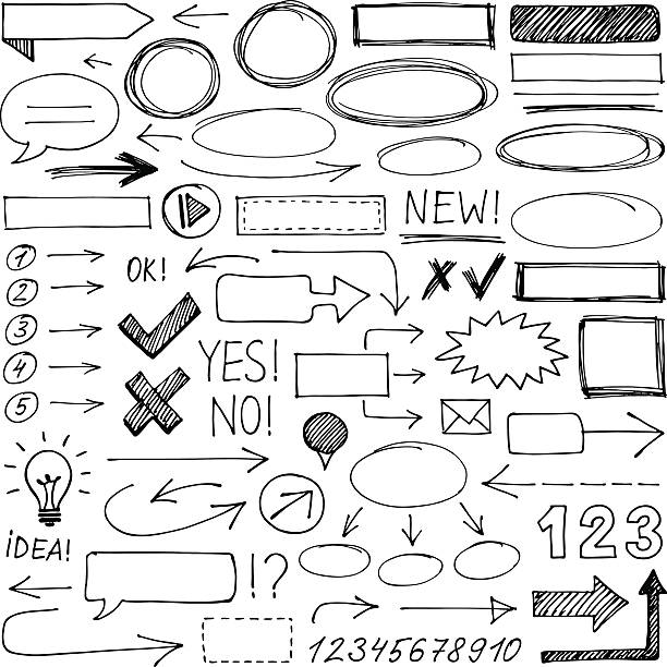 hand-drawn design elements - doodle stock illustrations