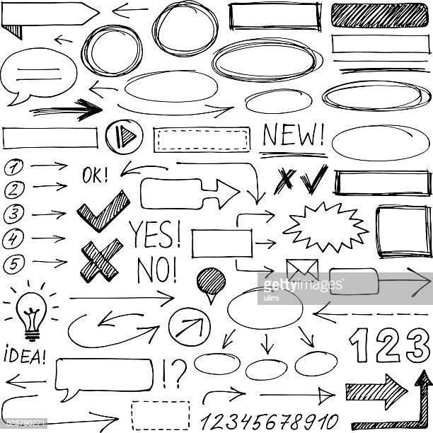 hand-drawn design elements - pencil drawing stock illustrations