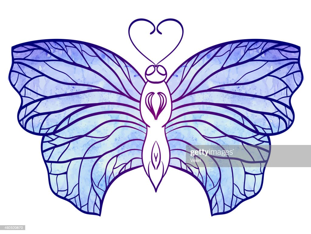 Hand-drawn doodle  butterfly with blue watercolor wings