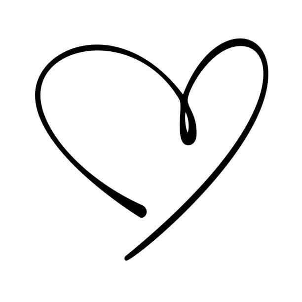 hand-drawn doodle heart - heart shape stock illustrations
