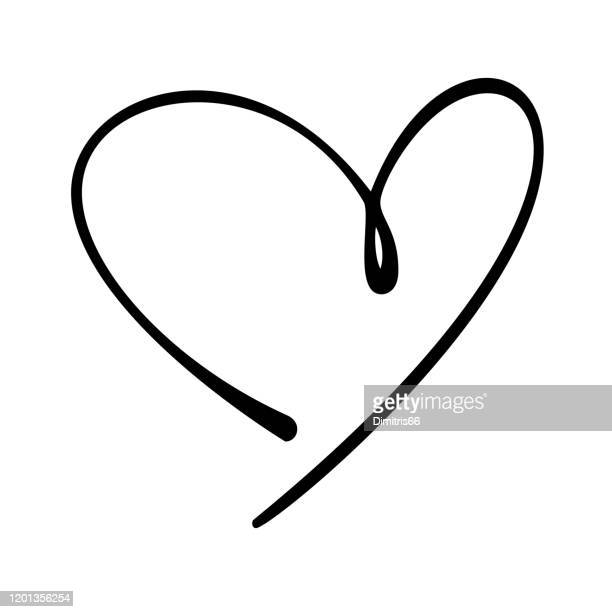 hand-drawn doodle heart - heart symbol stock illustrations