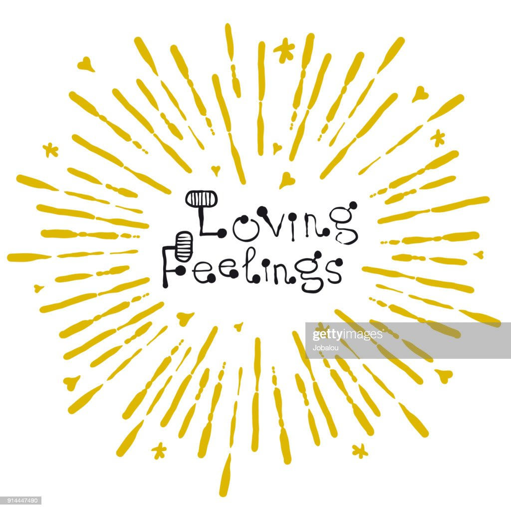 Handdrawn Doodle Positive Feelings Quote : stock illustration
