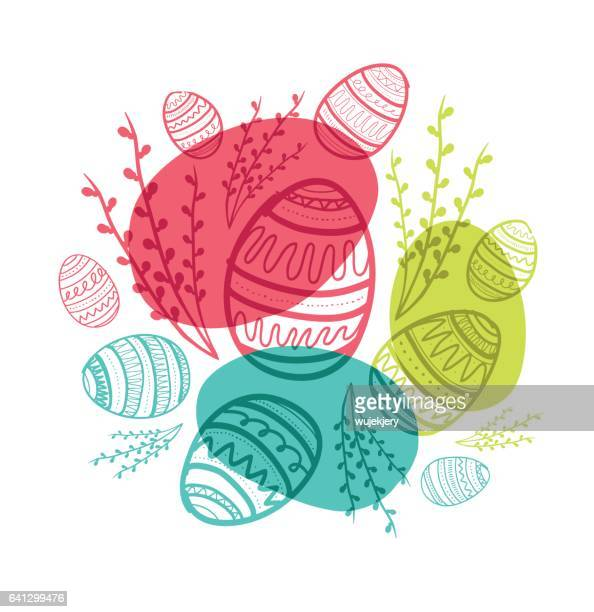hand-drawn easter cards, doodle easter eggs and symbols. - easter egg stock illustrations, clip art, cartoons, & icons