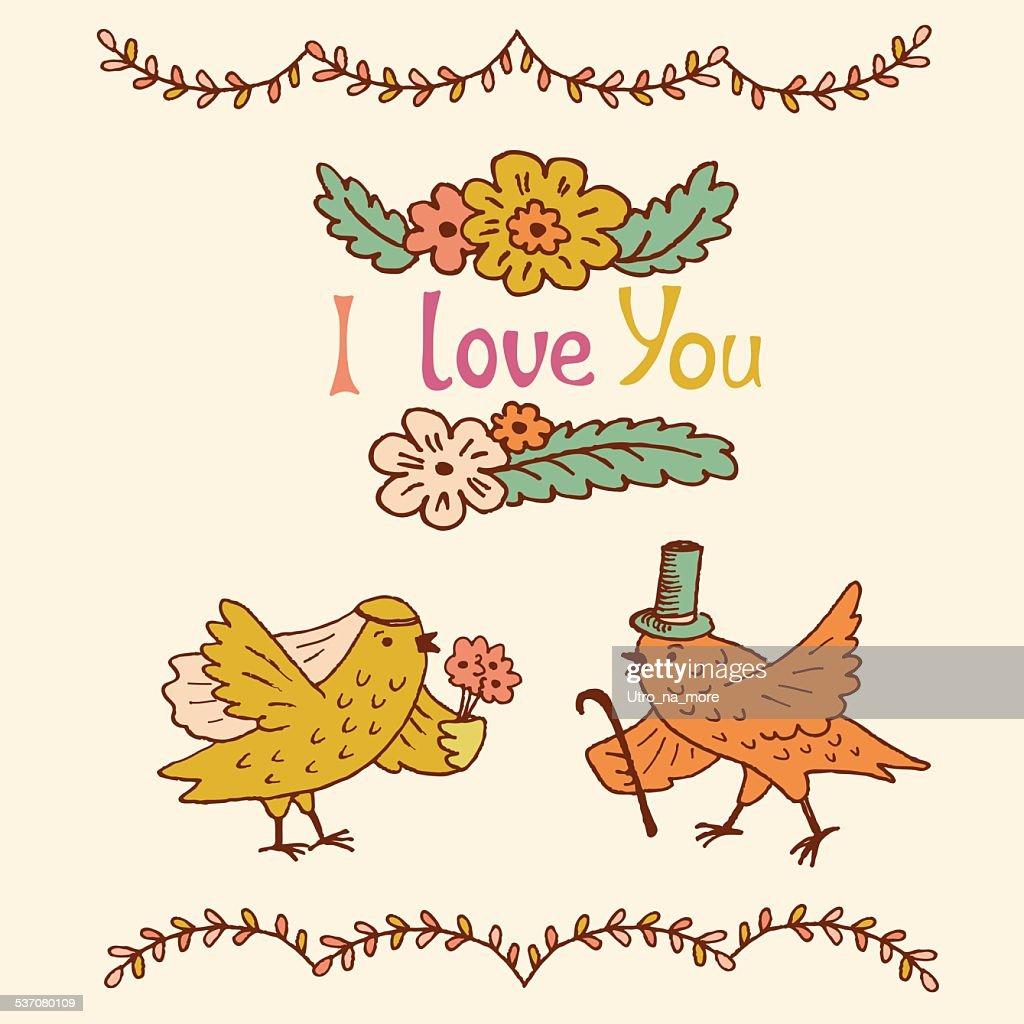 Handdrawn Floral Frames And Elements Wedding Design Wedding Birds ...