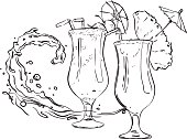 Handdrawn fruit cocktail in a tall glasses with an umbrella. Against the backdrop of  wave splash