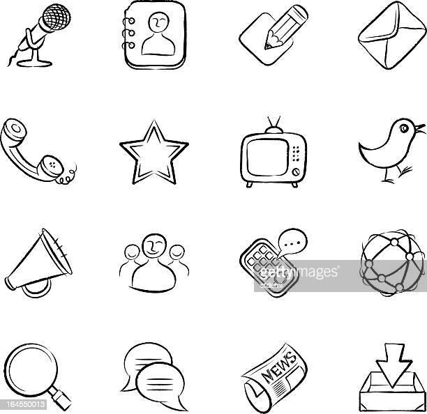 kommunikation icons - adressbuch stock-grafiken, -clipart, -cartoons und -symbole