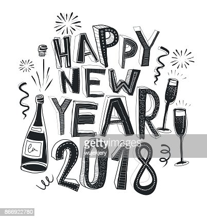 Handdrawn Happy New Year Card 2018 Doodle Vector Art | Getty Images