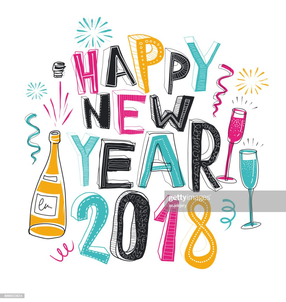 Handdrawn Happy New Year Card 2018 Doodle Vector Art   Getty Images