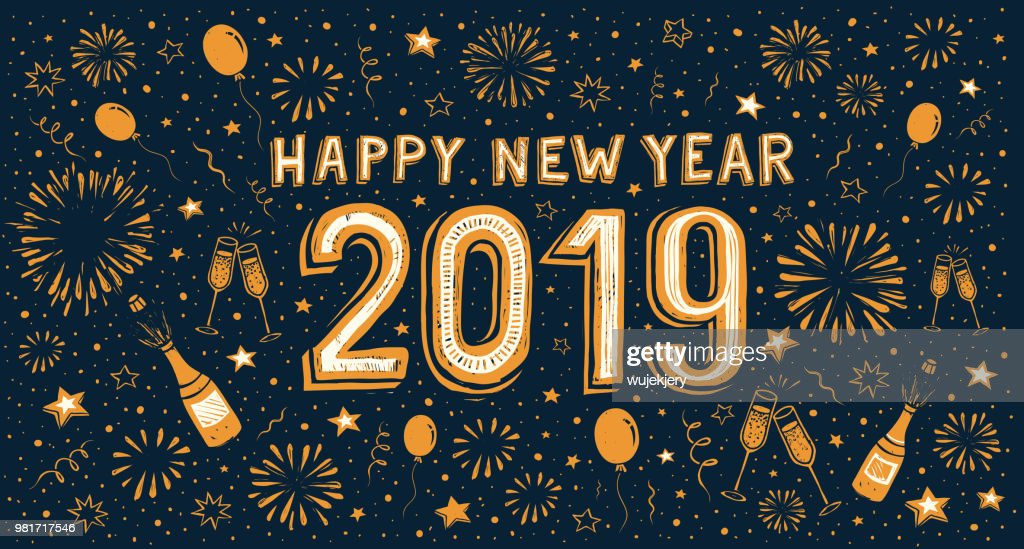hand drawn happy new year card with fireworks vector art