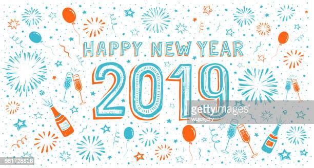 hand-drawn happy new year card with fireworks - celebration stock illustrations