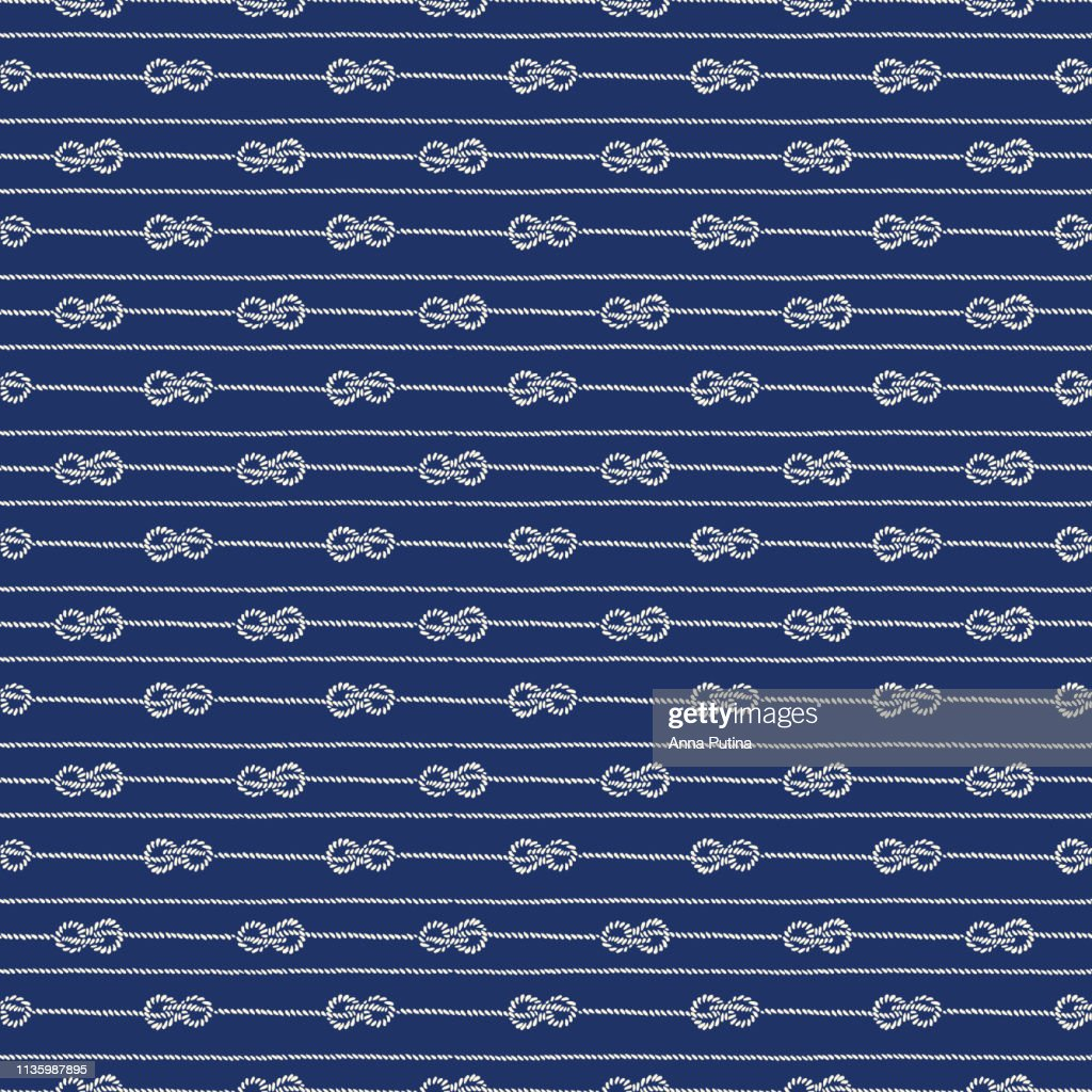 Hand-Drawn Horizontal Nautical Zeppelin Bend Knots and Ropes Stripes Vector Seamless Pattern. Blue Marine Background