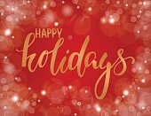 Handdrawn lettering happy holiday. design holiday greeting cards and invitations