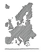 Hand-Drawn Map Europe In Black Drawing