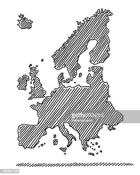 hand-drawn map europe in black drawing - italy vs norwegian stock illustrations