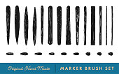Hand-Drawn Marker Brush Vector Set for Caligraphic Lettering, Doodle and Sketch