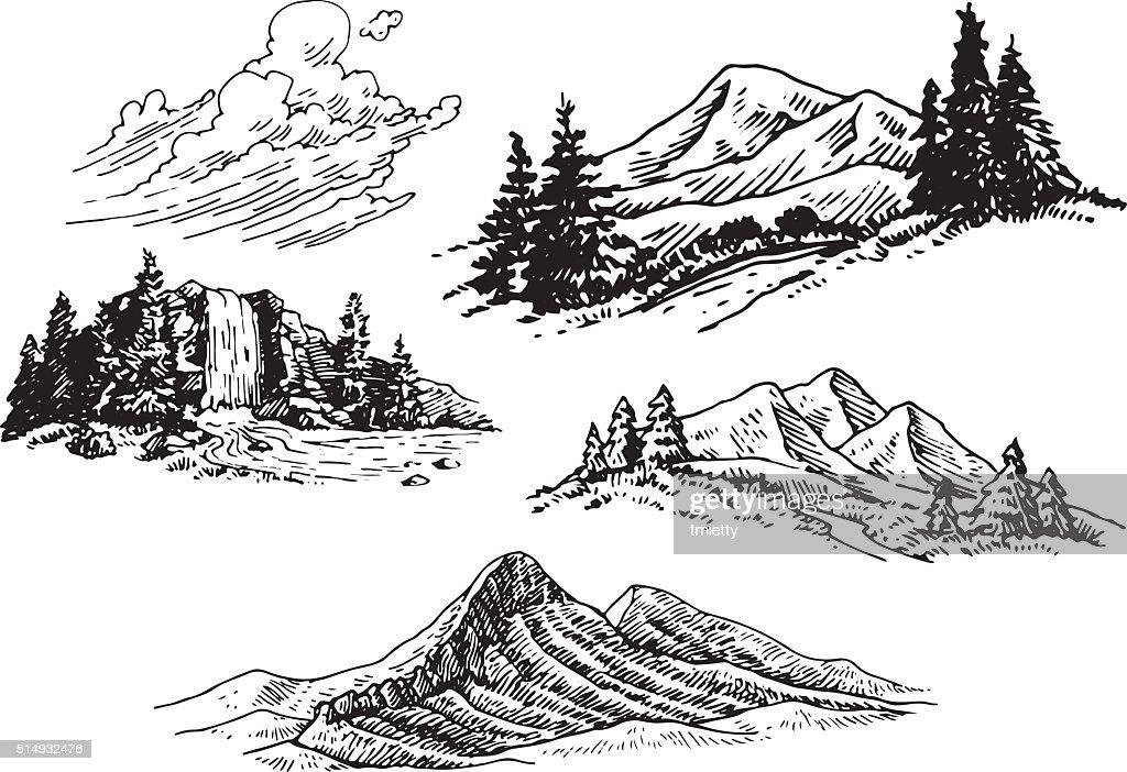 Hand-drawn Mountain Illustrations