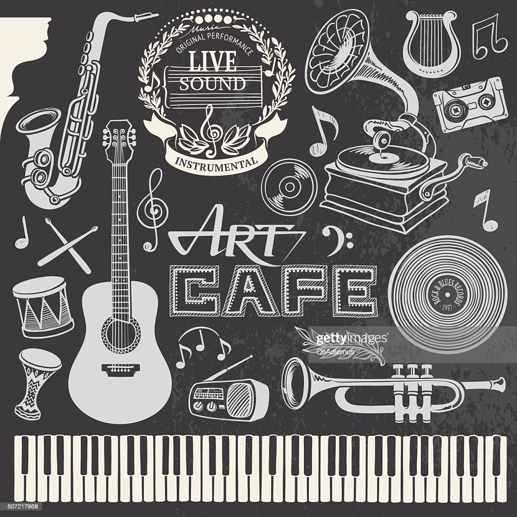 Hand-drawn Music Set