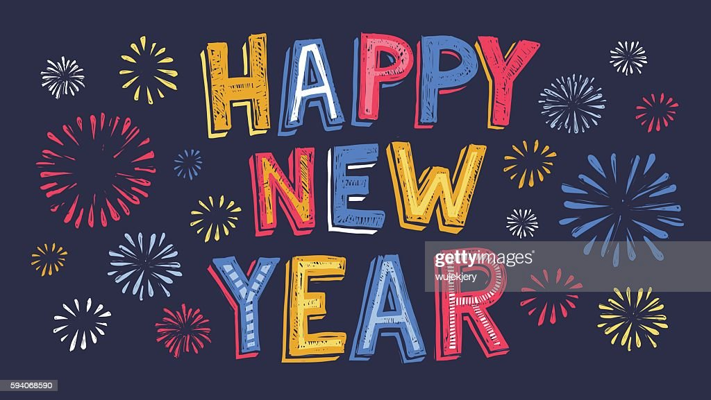 hand drawn new year banner with fireworks vector art