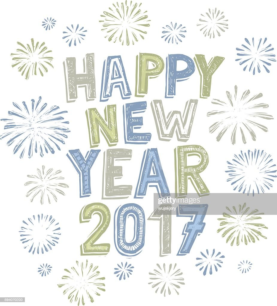 hand drawn new year card with fireworks vector art